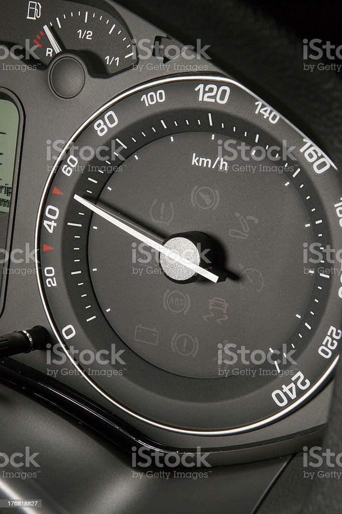 Tachometr showing lawful speed stock photo