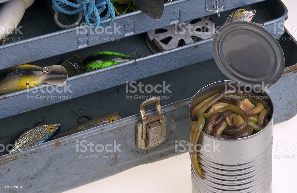 Tackle Box and Worms stock photo