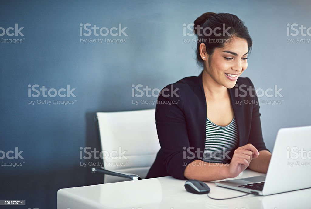 Tackling her work with a can-do attitude stock photo