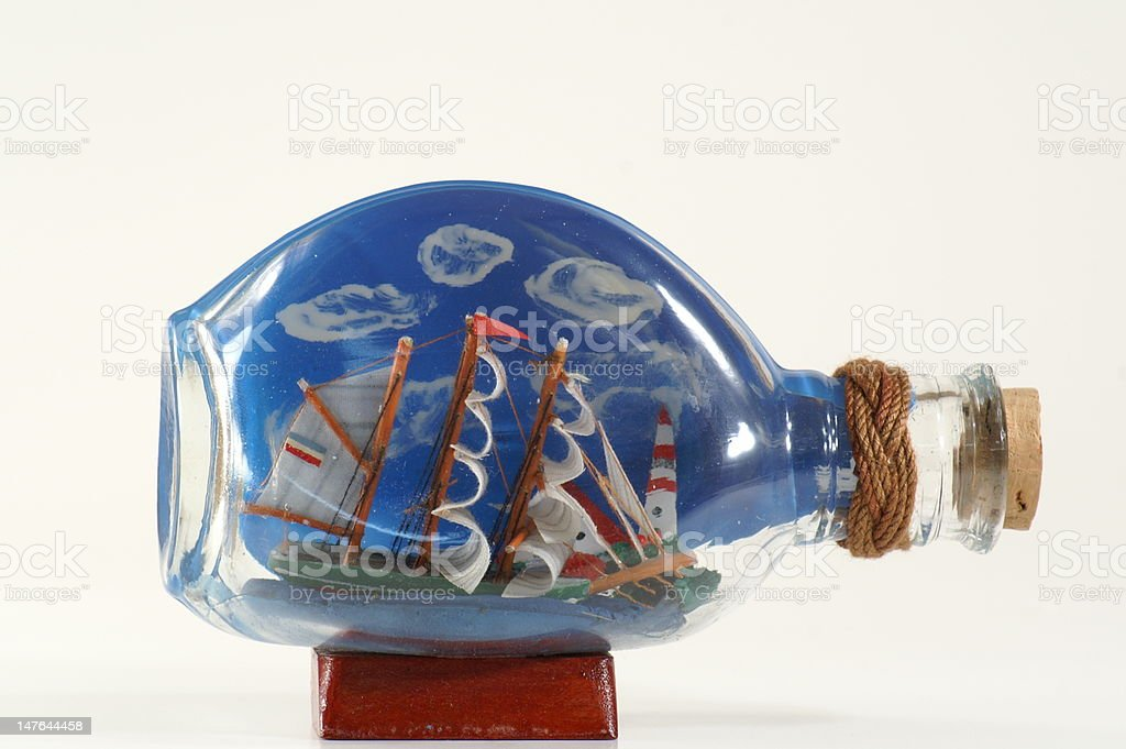 Tacky Ship in a Bottle royalty-free stock photo