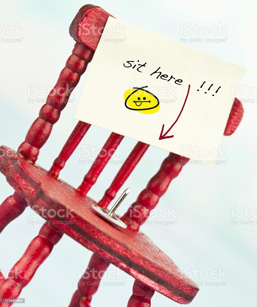 Tacky Shots: Sit Here! stock photo