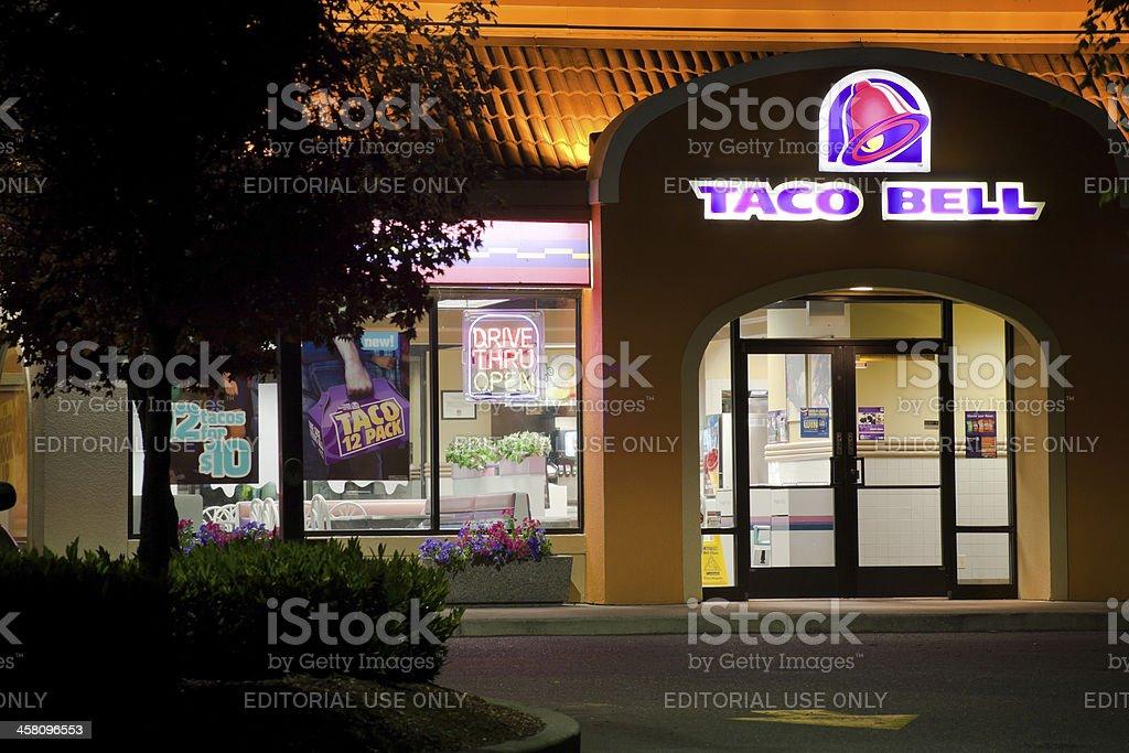 Taco Bell Restaurant at Night royalty-free stock photo