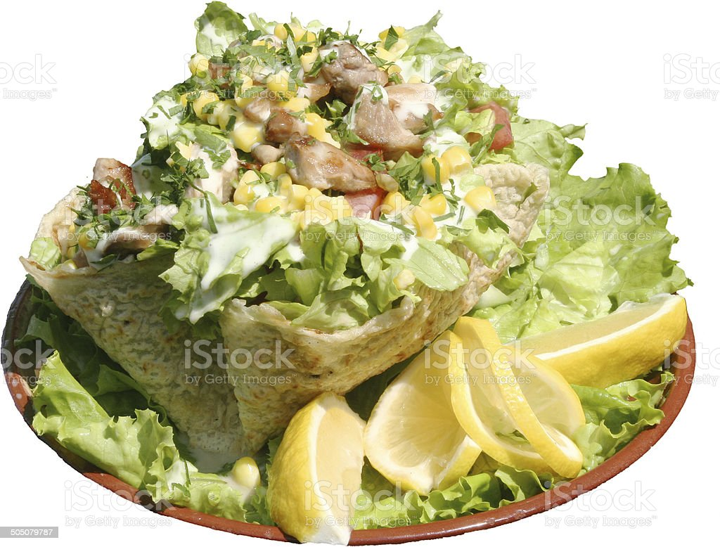 Taco salad in freshly baked flour tortilla bowl royalty-free stock photo