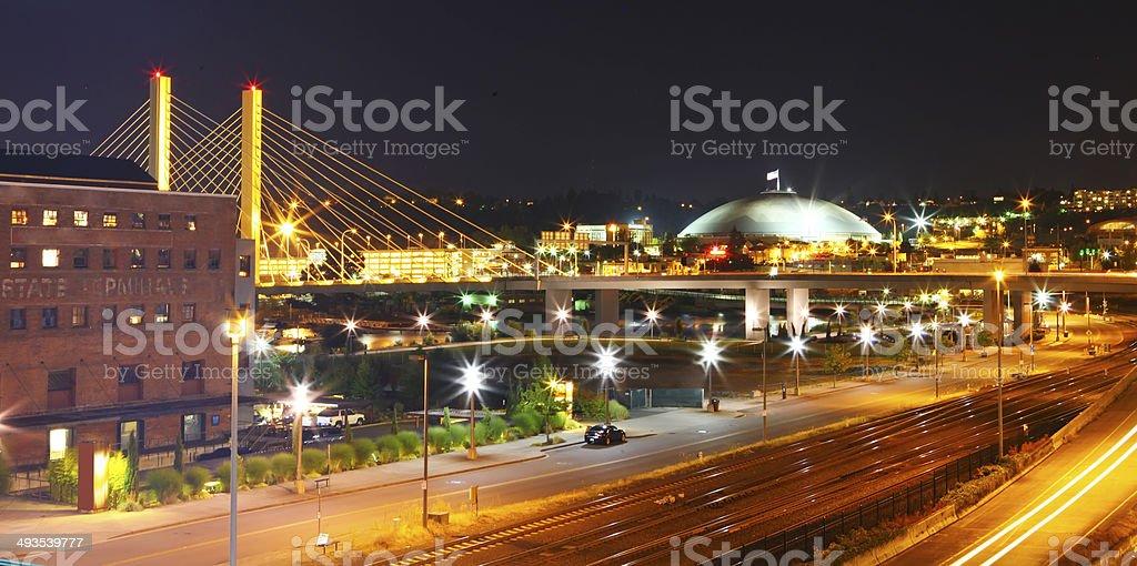 Tacoma downtown at night, WA stock photo