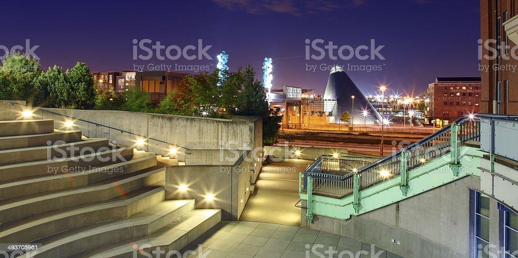 Tacoma downtown at night. WA stock photo