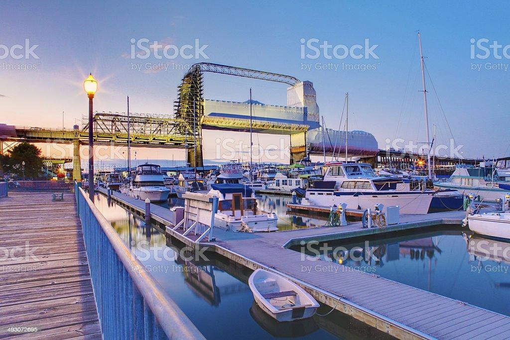 Tacoma downtown marina during twilight. WA stock photo