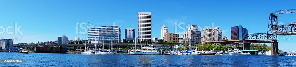 Tacoma downtown water view with business buildings. stock photo