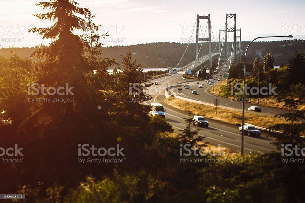 Tacoma Narrow Bridge stock photo