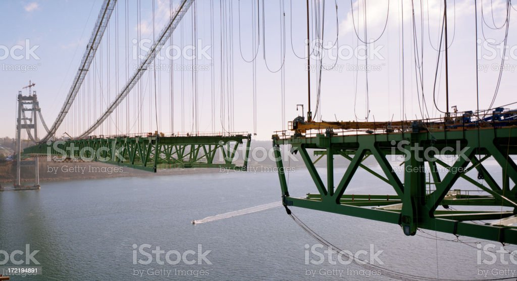 Tacoma Narrows Bridge Construction, December 28, 2006 stock photo