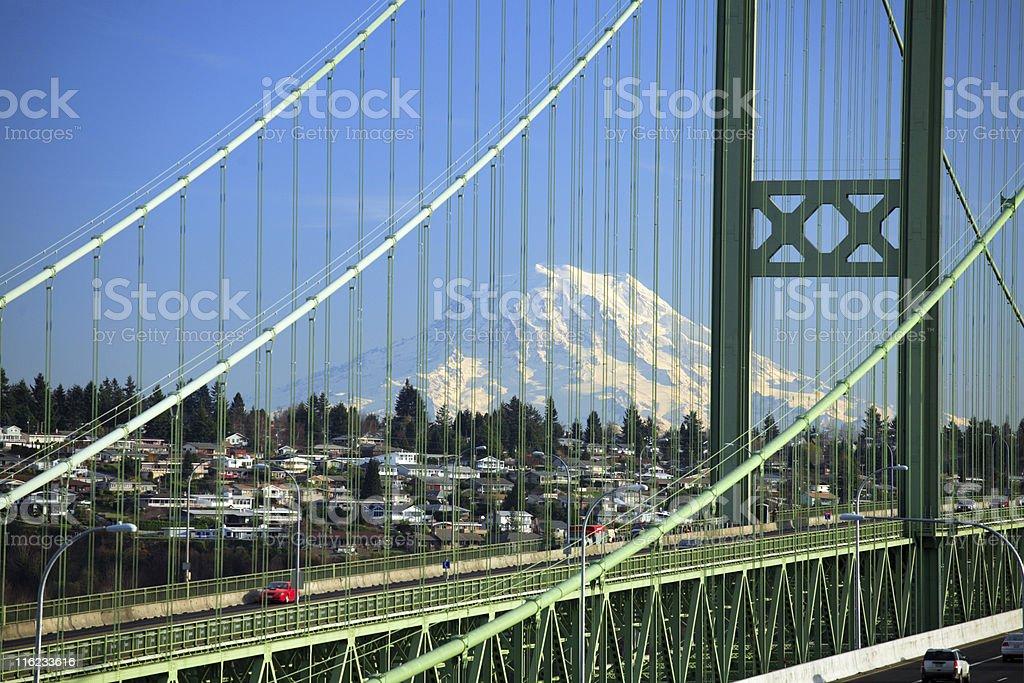 Tacoma Narrows Bridge, WA stock photo