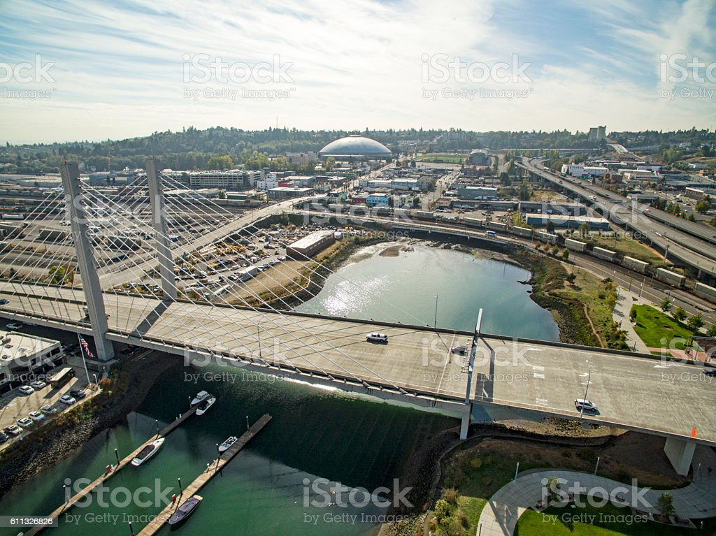 Tacoma Washington Aerial View From Foss Waterway Bridge stock photo