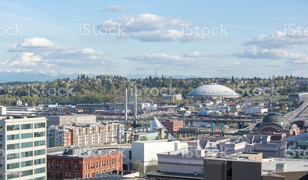 tacoma, washington and tacoma dome stock photo