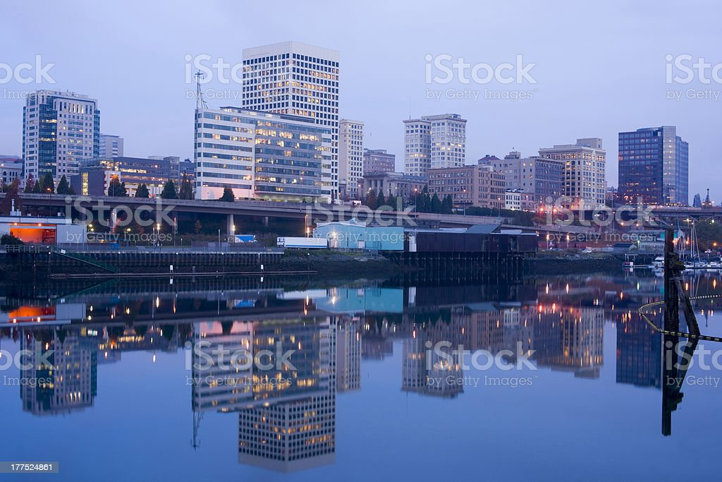 Tacoma Waterfront Before Dawn Office Buildings Thea Foss Waterway stock photo