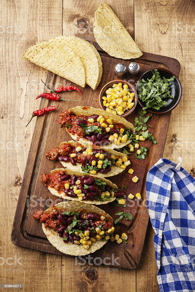 Tacos with ground beef stock photo