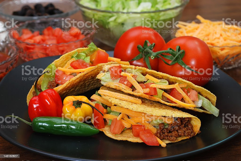 Tacos with Ingredients stock photo