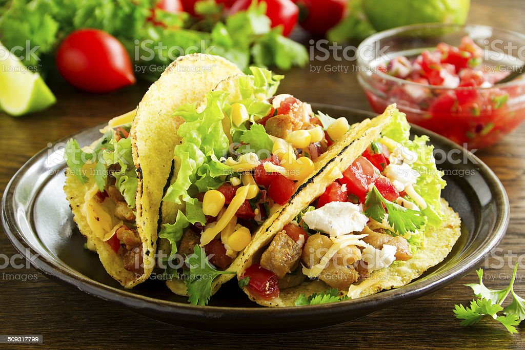 Tacos with pork and tomato salsa. stock photo