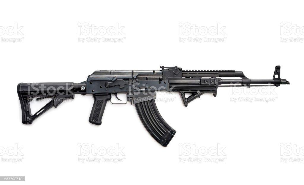Tactical custom built AK-47 7.62 rifle on white background stock photo
