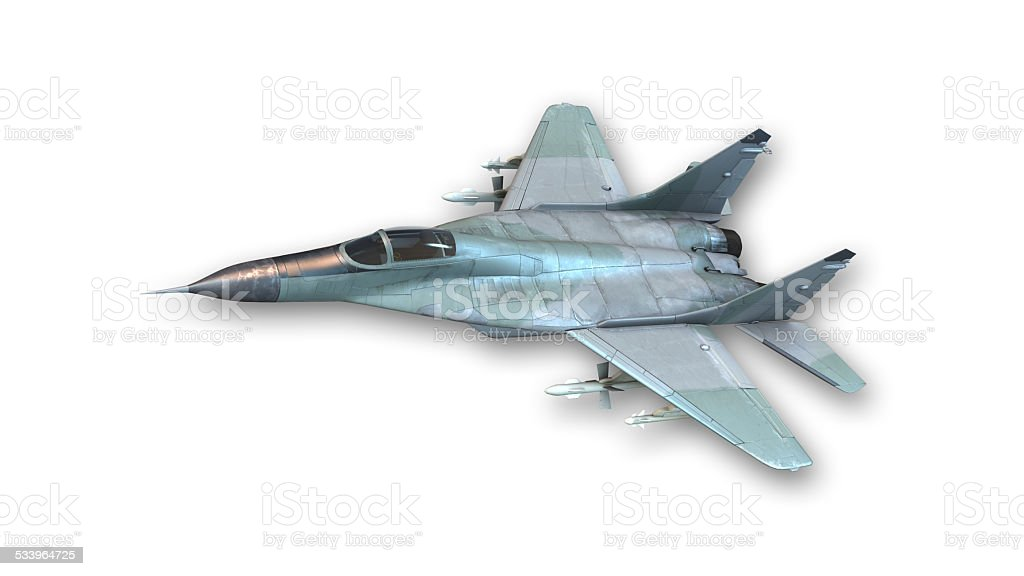 Tactical fighter jet in flight stock photo