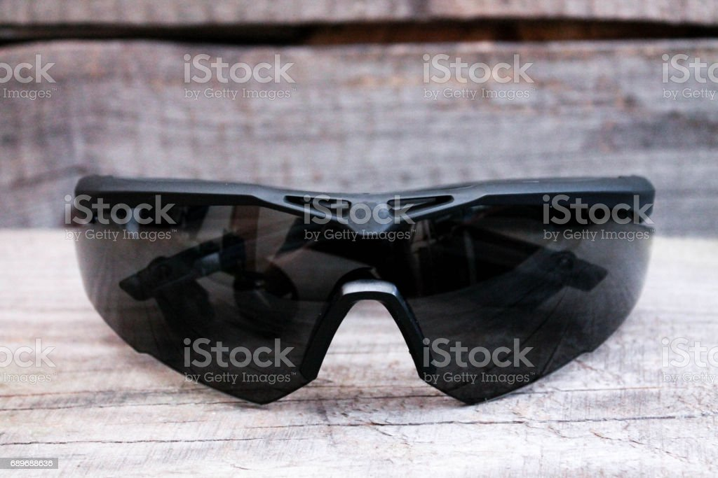 Tactical glasses. Glasses for the military. Eye protection. stock photo