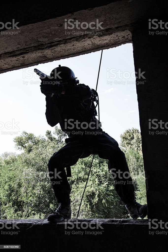 tactical rappeling stock photo