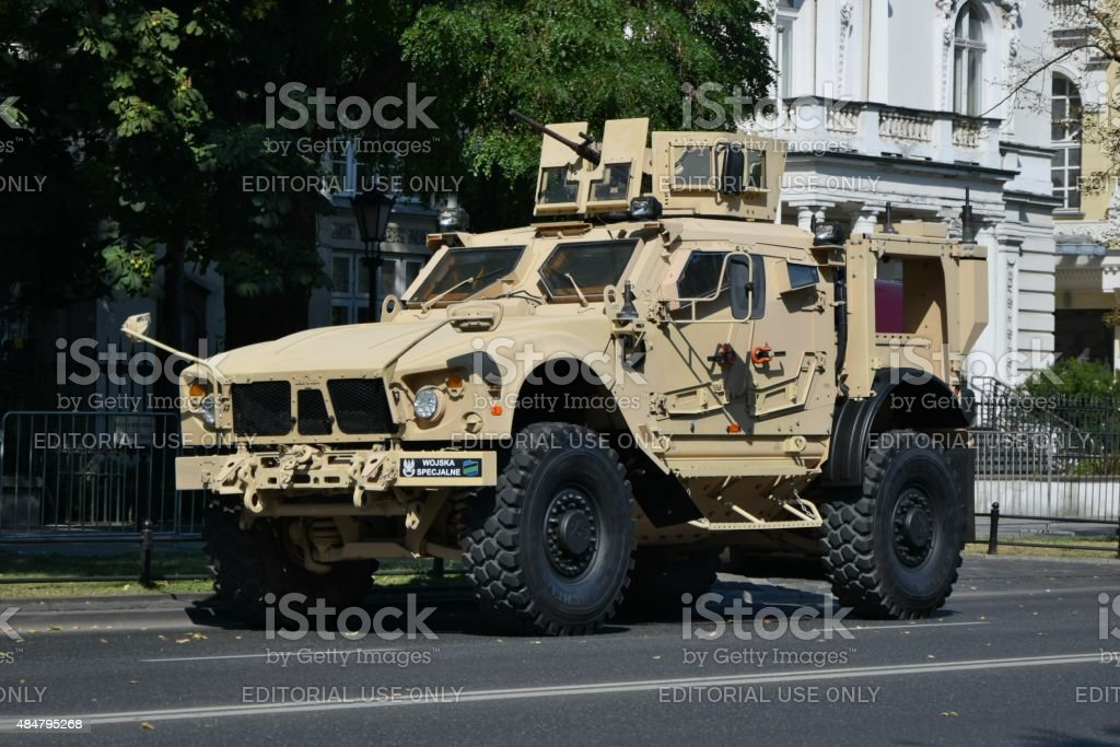 Tactical vehicle Oshkosh M-ATV MRAP on the street stock photo