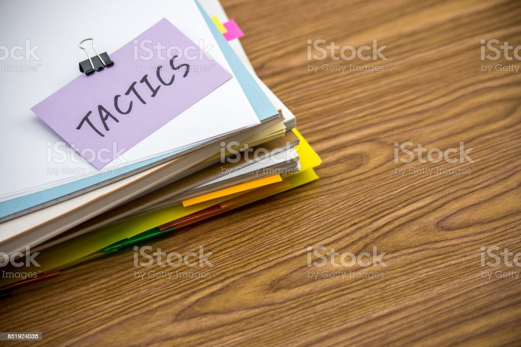 Tactics; The Pile of Business Documents on the Desk stock photo