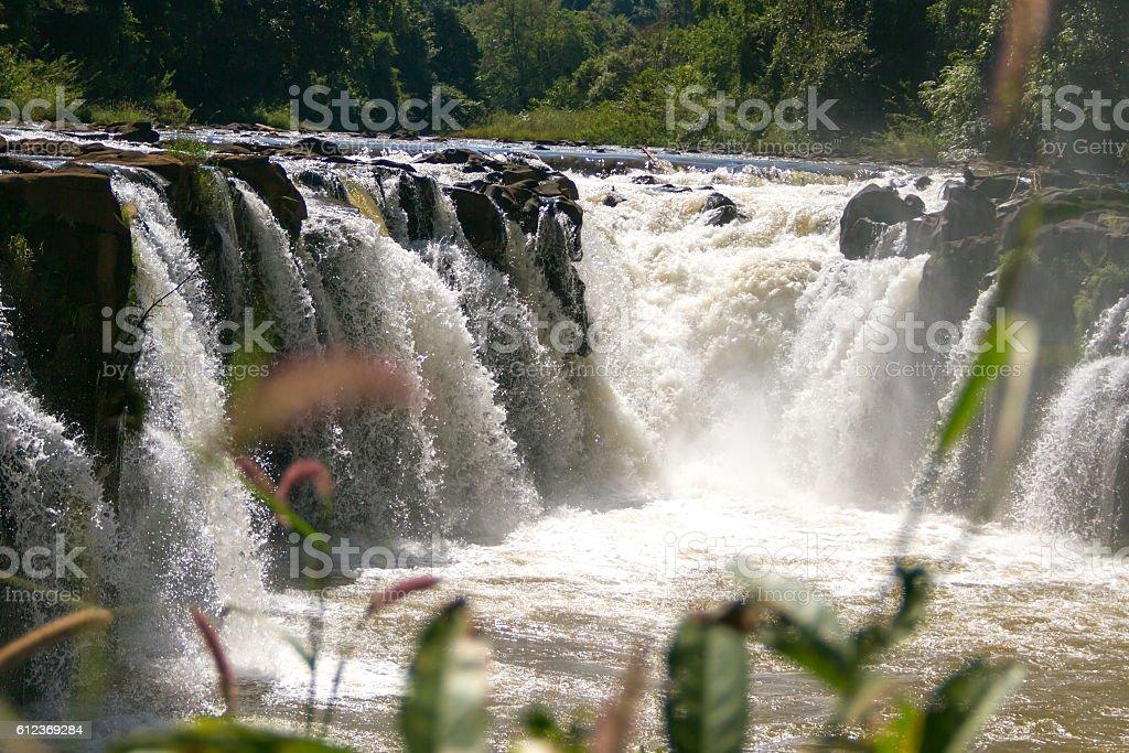 Tad Pha Souam waterfall in Pakse, Champasak, Southern Laos stock photo