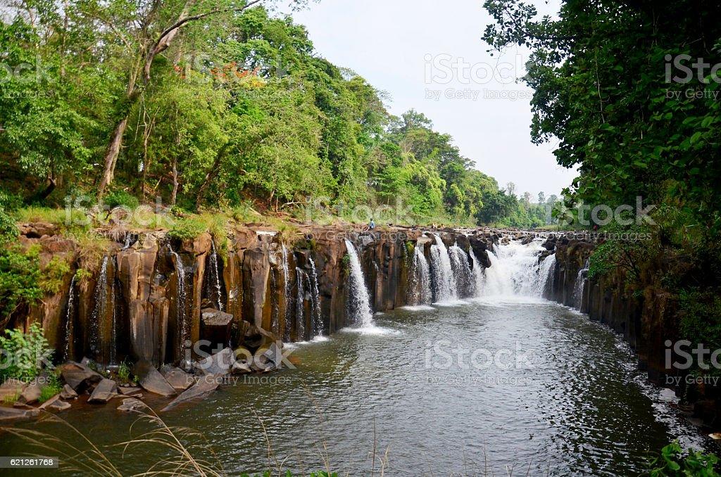 Tad Pha Suam waterfall in Pakse, Champasak, Laos stock photo