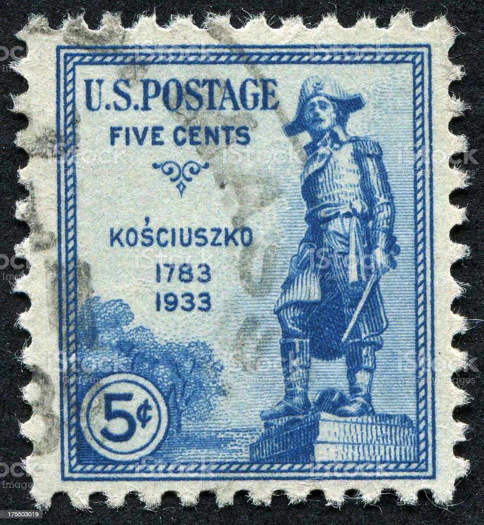 Tadeusz Kosciuszko Stamp stock photo