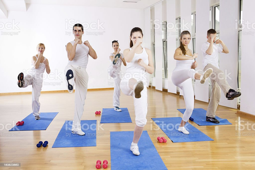 Tae Bo class at the gym. stock photo
