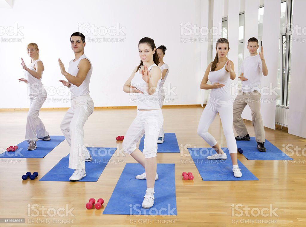 Tae Bo class at the gym stock photo