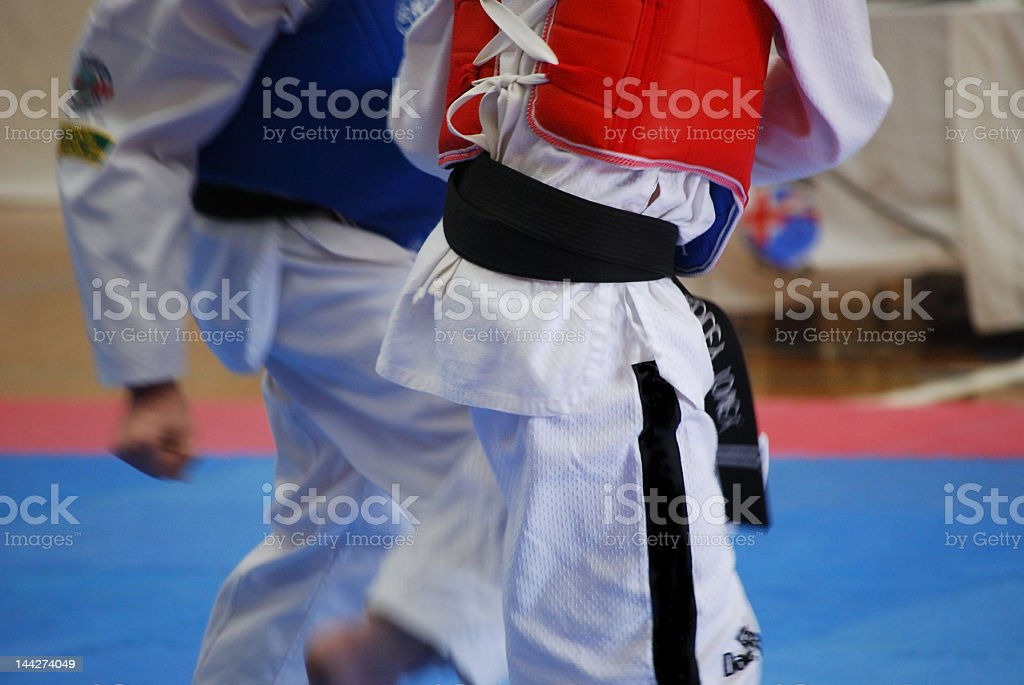 Tae kwon do fighters stock photo