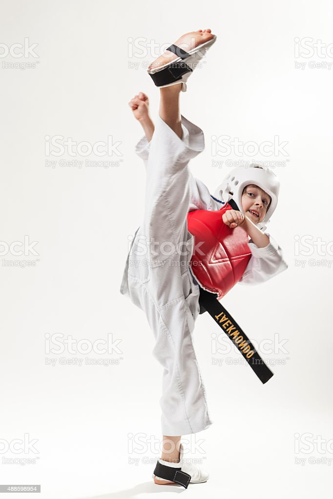 Tae kwon do high kick stock photo