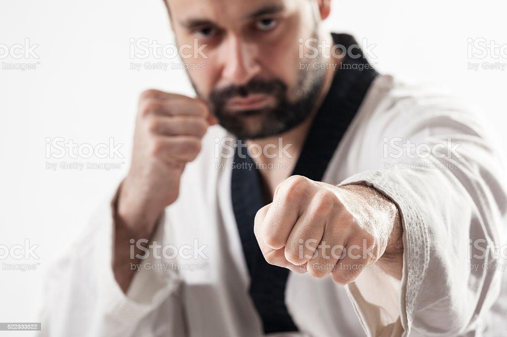 Tae kwon do high punch stock photo