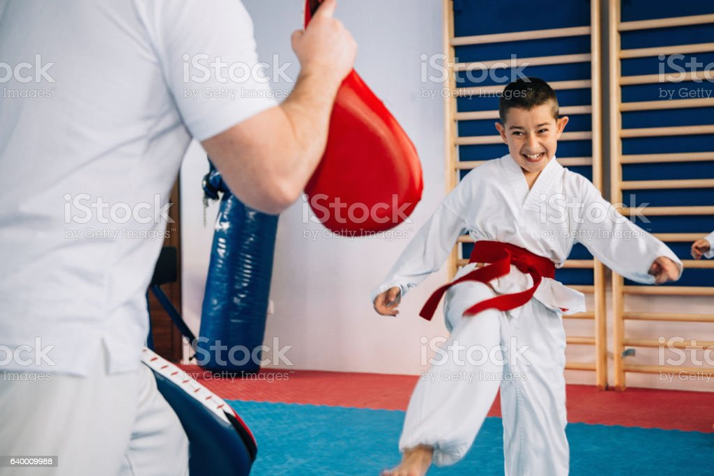 Tae kwon do instructor with little boy stock photo