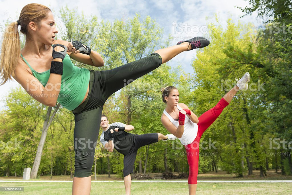 Taebo side kick stock photo