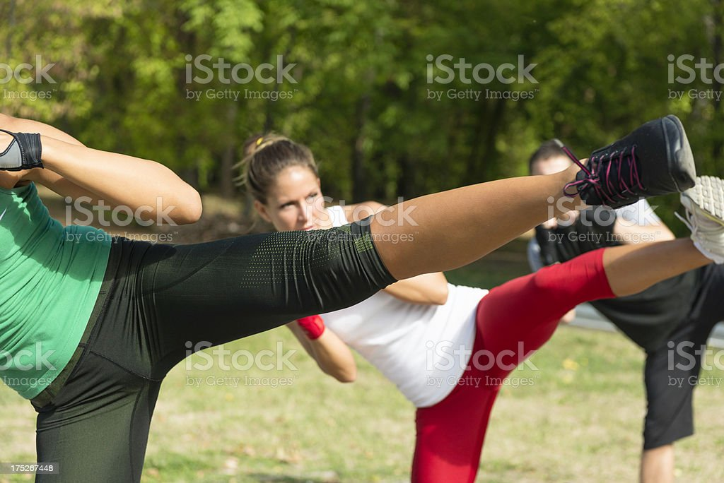 Taebo side kicks stock photo