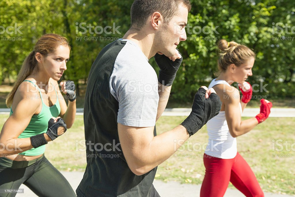 Taebo team in training stock photo