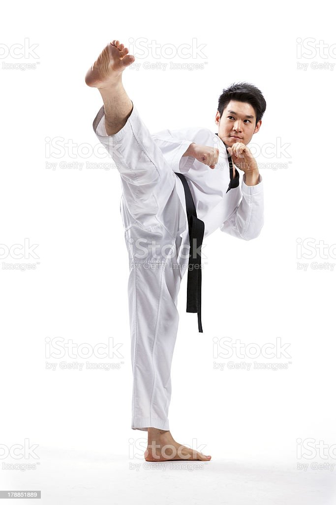 taekwondo action stock photo