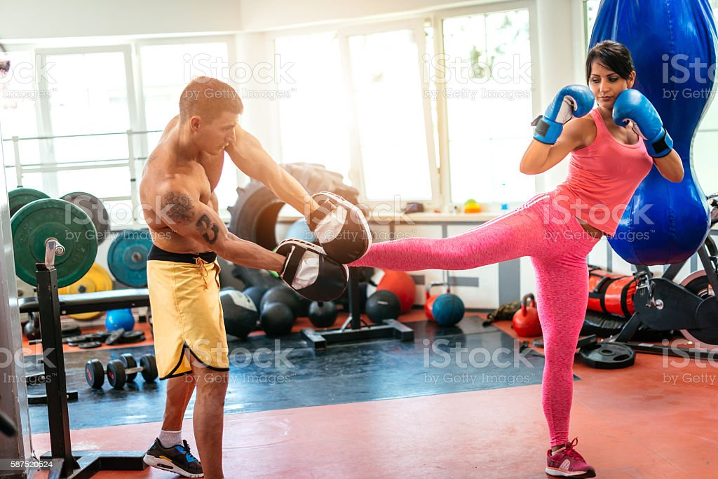 Taekwondo class in gym stock photo