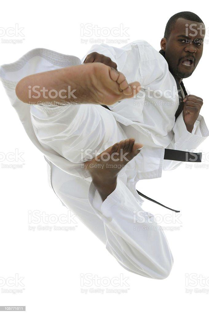 Taekwondo flying sidekick stock photo
