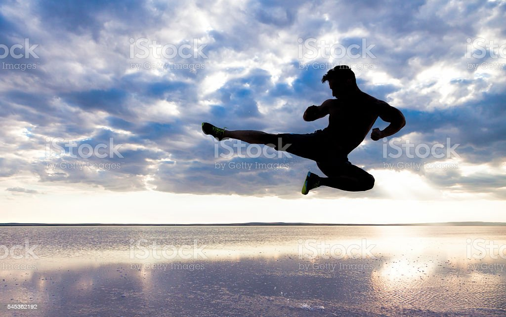 Taekwondo kick stock photo