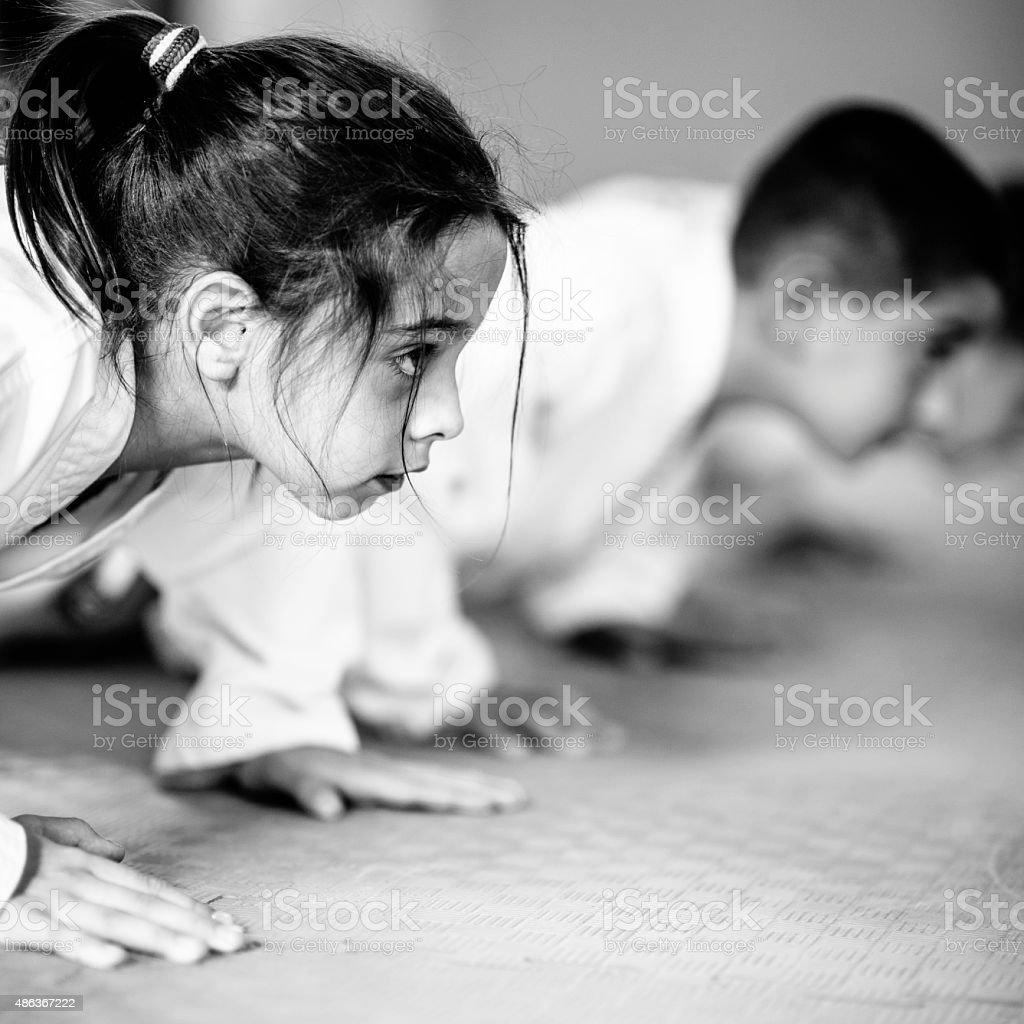 Taekwondo kids stock photo