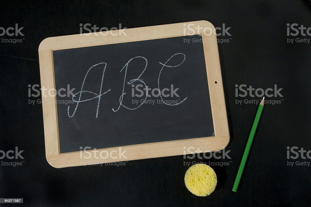 tafel, blackboard, pen and sponge royalty-free stock photo