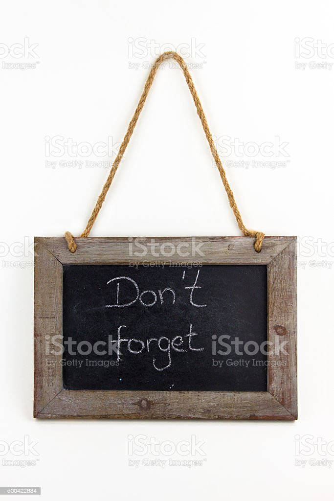 Tafel Holz do not forget stock photo