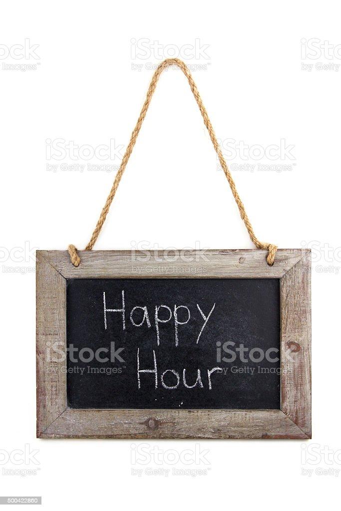 Tafel Holz Happy Hour stock photo