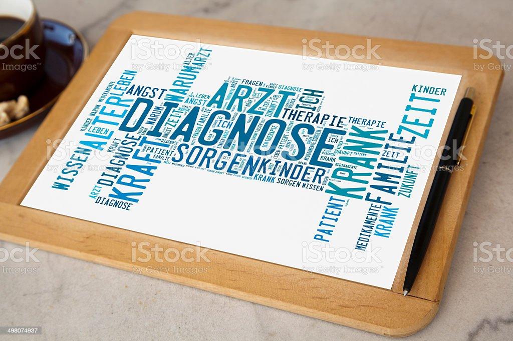 Tafel mit Diagnose word cloud stock photo