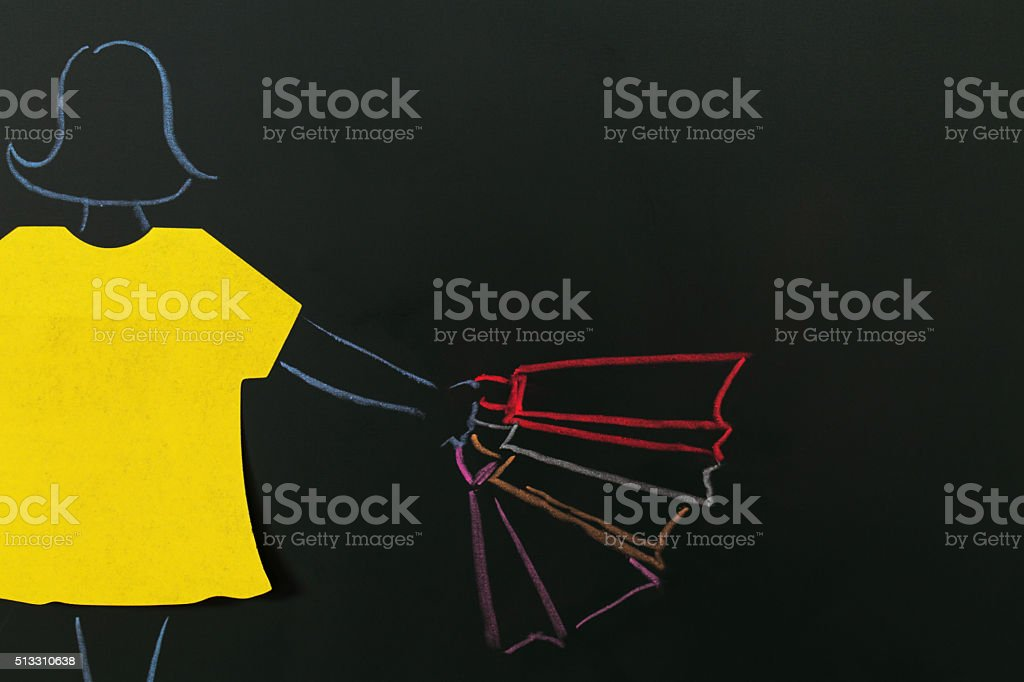 tag and chalk painting: girl shopping stock photo