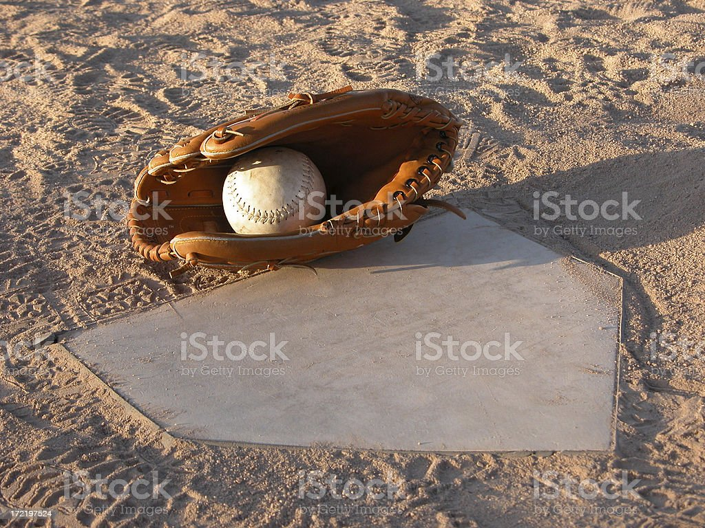 Tag at Home Plate stock photo