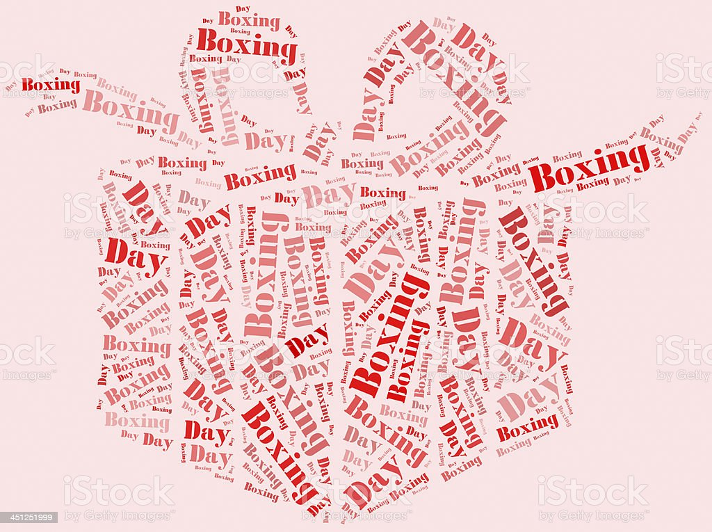 Tag cloud boxing day related in shape of gift box stock photo